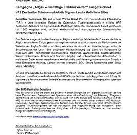 """Kampagne """"Allgäu – vielfältige Erlebniswelten"""" ausgezeichnet"""