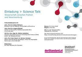 EINLADUNG zum Science Talk am 29.1. mit Bundesminister Heinz Faßmann
