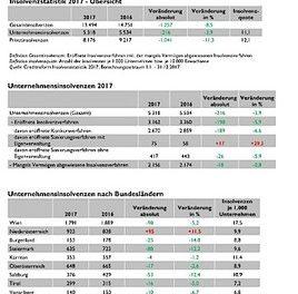 Creditreform FIRMENINSOLVENZSTATISTIK 2017: 21 Insolvenzen pro Werktag
