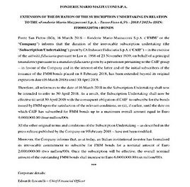 EANS-News: Fonderie Mario Mazzucconi S.p.A. /20180316 EXTENSION OF THE DURATION OF THE SUBSCRIPTION UNDERTAKING