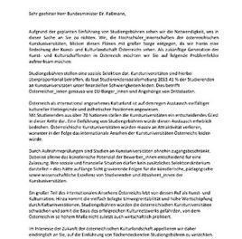 Offener Brief der Hochschüler_Innenschaften an den Kunstuniversitäten Österreichs
