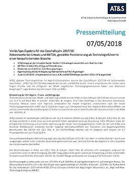 EANS-News: AT & S Austria Technologie und Systemtechnik Aktiengesellschaft / Vorläufiges Ergebnis für das Geschäftsjahr 2017/18: Rekordwerte bei Umsatz und EBITDA
