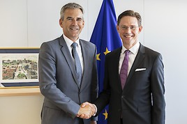 Finanzminister Hartwig Löger trifft Kommissions-Vizepräsident Jyrki Katainen