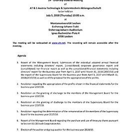 EANS-General Meeting: AT & S Austria Technologie und Systemtechnik Aktiengesellschaft / Invitation to the General Meeting according to art. 107 para. 3 Companies Act