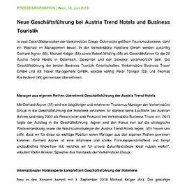 Verkehrsbüro Group: Neue Geschäftsführung bei Austria Trend Hotels und Business Touristik