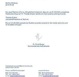 EANS-Adhoc: Josef Manner & Comp. AG / Ad Hoc Meldung Vorstandsbestellung