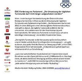 """ÖOC-Forderung ans Parlament: """"Die Umsetzung der täglichen Turnstunde darf nicht länger aufgeschoben werden!"""""""