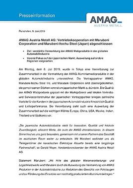 EANS-News: AMAG Austria Metall AG: Vertriebskooperation mit Marubeni Corporation und Marubeni-Itochu Steel (Japan) abgeschlossen