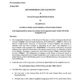 EANS-News: Atrium European Real Estate Limited / RECOMMENDED CASH ACQUISITION by Nb (2019) B.V. an indirect wholly-owned subsidiary of Gazit-Globe Limited