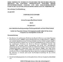 EANS-News: EMPFOHLENER ERWERB von Atrium European Real Estate Limited durch Nb (2019) B.V. einer indirekten hundertprozentigen Tochtergesellschaft von Gazit-Globe Limited