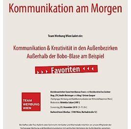 """MEDIENEINLADUNG: Team Werbung Wien ladet ein zur Veranstaltung """"KOMMUNIKATION AM MORGEN"""" am 21.11.2019 um 9 Uhr"""