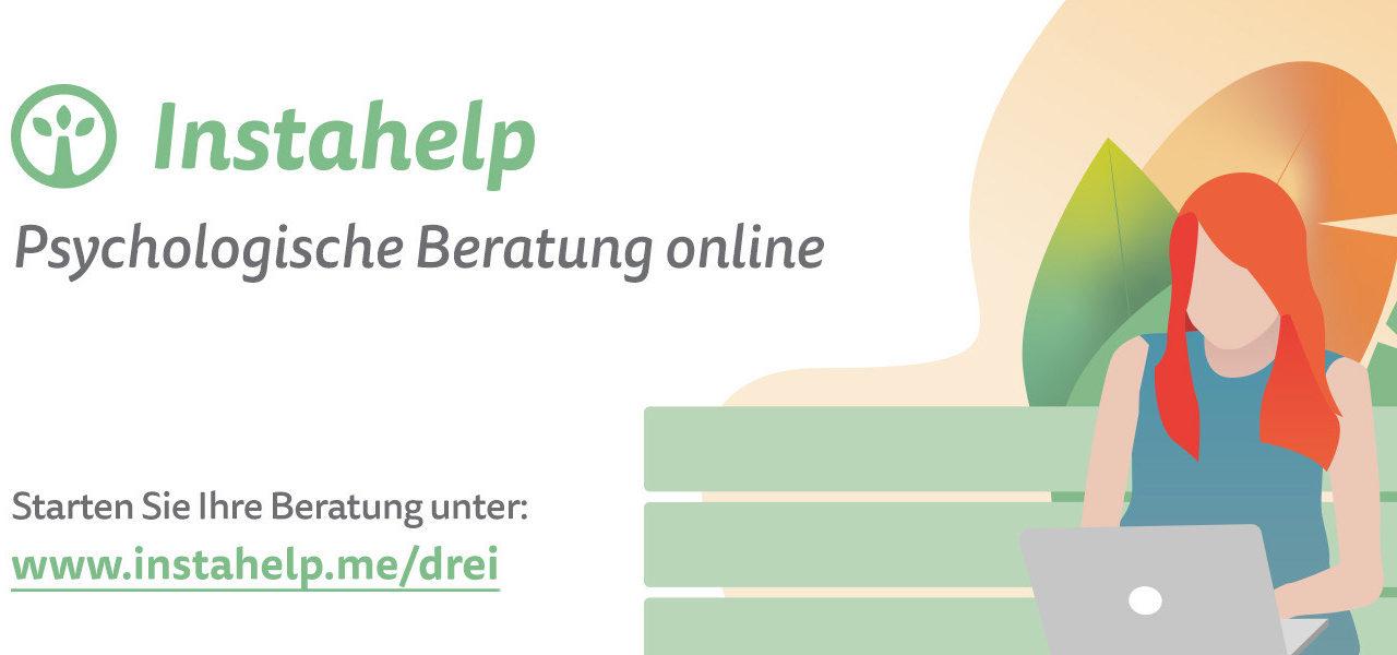 Drei und Instahelp: Psychologische Beratung im eigenen Wohnzimmer.