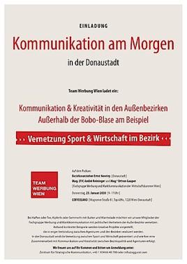 """MEDIENEINLADUNG: Team Werbung Wien lädt ein zur Veranstaltung """"KOMMUNIKATION AM MORGEN"""" in der DONAUSTADT am 23.01.2020 um 9 Uhr"""