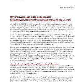 FOPI mit zwei neuen VizepräsidentInnen: Tuba Albayrak/Novartis Oncology und Wolfgang Kaps/Sanofi