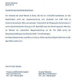 EANS-Adhoc: Josef Manner & Comp. AG / Dividendenbeschluss für das Geschäftsjahr 2019