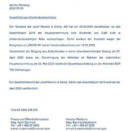 EANS-Adhoc: Josef Manner & Comp. AG / Änderung Dividendenbeschluss für das Geschäftsjahr 2019