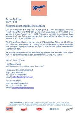 EANS-News: Josef Manner & Comp. AG / Anteilserhöhung Privatstiftung