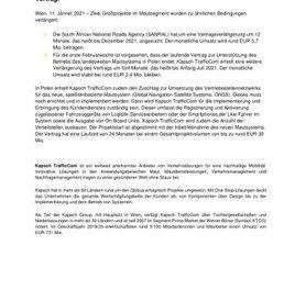 EANS-News: Kapsch TrafficCom / Zwei Großprojekte verlängert und ein zusätzlicher Vertrag.