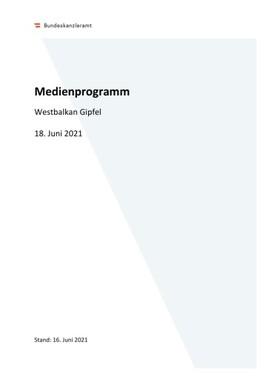 AVISO: Westbalkan Gipfel am 18. Juni 2021 in Wien