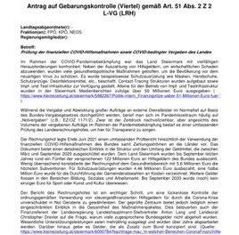 FPÖ/KPÖ/NEOS: Landesrechnungshof erhält Prüfauftrag für Corona-Hilfen und Covid-bedingte Auftragsvergaben!