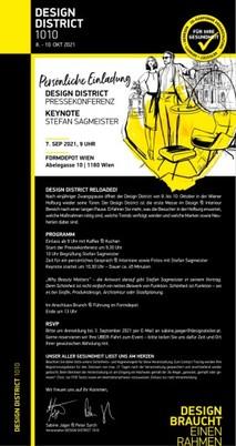 Einladung zur Pressekonferenz Design District und Keynote Stefan Sagmeister